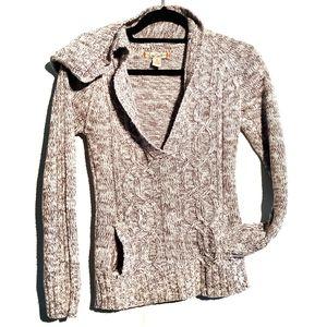 Cozy Grey Deep V Neck Knit Sweater with Pockets